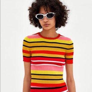 Zara multicolor striped knit top